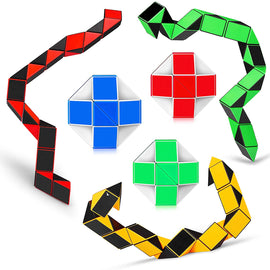 6PCS Big Size Snake Cube Fidget Sensory Toy Ruler Twisty Puzzle Brain Teaser Game for Kids Party Fillers 24 Blocks (24 Parts 6PCS)