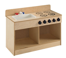 "Toddler Sink and Stove Combo, 21.5"" Height, 13.38"" Width, 29.5"" Length, Natural Wood"
