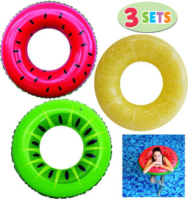 Inflatable Swim Tube Raft (3 Pack) with Summer Fruits Painting, Pool Toys for Swimming Pool Party Decorations