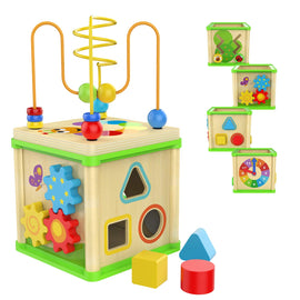 Wooden Activity Cube - 1 Year Old Shape Shorter Bead Maze Toy Educational Baby Gifts Small Size