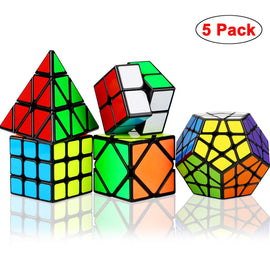 5 Pack Speed Cube Set, Magic Cube Bundle  Pyramid  Skew Cube Smooth Sticker Cubes Collection Puzzle Toy for Kids Toys