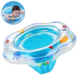 Baby Float Swimming Ring with Double Airbag Pool Swim Float with Safety Seat Kids Pool Bathtub(Blue)