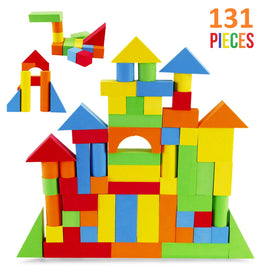 Creative Educational EVA Foam Building Blocks - Ideal Construction Toys for for Girls, Boys, Toddlers - 131 Pcs
