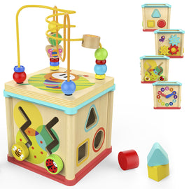 Activity Cube Toys Baby Educational Wooden Bead Maze Shape Sorter for 1 Year Old Boy and Girl Toddlers Gift Small Size
