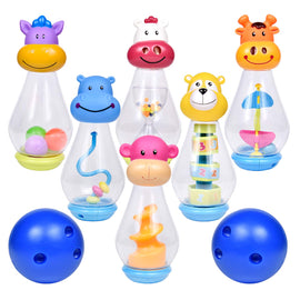 Bowling Set for Toddlers with 6 Animal Head Bowling Pins and 2 Bowling Balls, Outdoor Toys Bowling Game for Kids