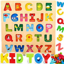 Wooden Alphabet ABC Baby Puzzle for Toddlers 2 3 Years - Alphabets Name Puzzles Set Letter Blocks for Kids Learning Educational Montessori Letters Jigsaw Board Games Toys for Kindergarten