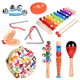 12Pcs Toddler Musical Instrument Toy Wooden Percussion Toys Including Tambourine, Piccolo and More for Kids