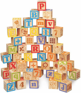Deluxe Wooden ABC Blocks. Extra-Large Engraved Baby Alphabet Letters, Counting & Building Block Set