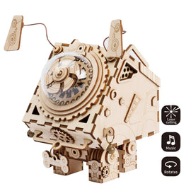 3D Laser Cut Wooden Puzzle Music Box Kit Robot Dog Seymour DIY Puzzle Toy with A Cute Song