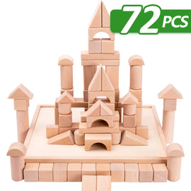 72PCS Wood Castle Blocks Kit, Natural Wooden Stacking Cubes, Educational Montessori Toys for 3-5 years old
