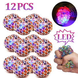 3/12 Pack Anti-Stress Ball LED Mesh Squeeze Ball Toys Home and Office Use Stress Relief Toys for Kids Adults (mesh Stress Ball)