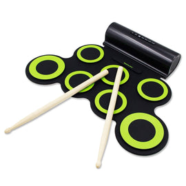 Electronic Drum Set, Roll Up Drum Practice Pad Midi Drum Kit with Headphone Jack Built-in Speaker Drum Pedals