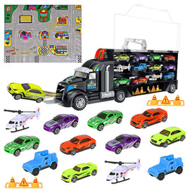 Transport Toy Car Carrier Truck Car Set,Includes 8 Sports Car, 2 Off-Road Cars, 2 Helicopters, 2 Roadblocks ,1 City Map