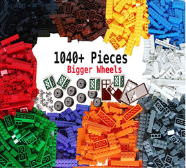 Building Bricks 1040 Pieces Set, 1000 Basic,40 Bonus Fun Shapes Includes Wheels, Doors, Windows, Compatible to All Major Brands
