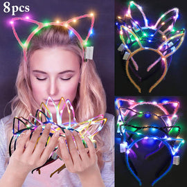LED Cat Ear Headband 8 PCS Light Up Rabbit Ears Headband Cute Hairbands for Girls Adult Halloween Hair Accessories