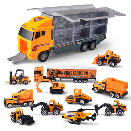 11 in 1 Die-cast Construction Truck Vehicle Car Toy Set Play Vehicles in Carrier Truck