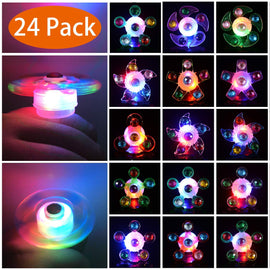 24 Pack Light Up Rings Glow In The Dark Party Supplies Bulk Hand Spin Stress Relief Anxiety LED Toys