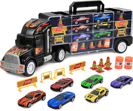 "Transport Car Carrier Truck, Loaded with Cars, Road Signs & More. Holdup To 28 Cars. Jumbo 22"" Long"