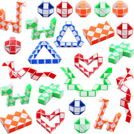 24 Pack 24 Blocks Magic Snake Cube, Mini Snake Speed Cubes, Twist Puzzle Toys for Kids, Random Color