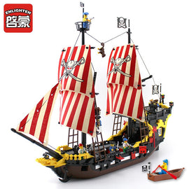 Enlighten Blocks 870+pcs Pirates Ship Black Pearl Model Building Blocks Educational Building Toys For Children Kids Gift