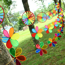 New Children Flower Windmill String New Rainbow Floral Windmill Wind Spinner Whirligig Toy Garden Lawn Party Outdoor Decor