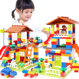 DIY Colorful Big Size Slide Blocks City House Roof Big Particle Building Blocks Castle Educational Toy For Children