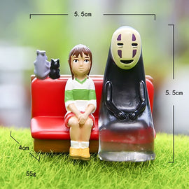 Spirited Away No Face Man Knitting sweat xiaomeir Mouse Sofa Soup Mother Toy Figures Studio Ghibli Hayao Miyazaki Kaonashi Dolls