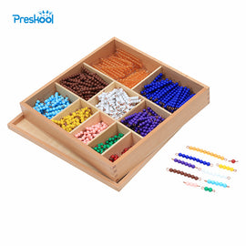 Baby Toy Montessori Math 9 Colors Beads Bead Decanomial with Box Early Childhood Education Preschool Training Learning