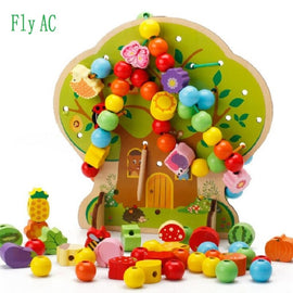 Montessori Learning Education Wooden Toys Cartoon fruit tree Fruit Beads Educational Toy For Children Birthday gift