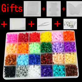 Perler beads Set 5mm Hama Beads small 24 Colors  Box set Diy Educational Kid's Toy Craft Gift Set PUPUKOU