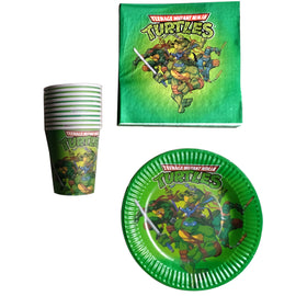 60PCS Baby Shower Food Grade Paper Plates Cups Ninja Turtles Theme Napkins Decoration Birthday Party Set Kids Favors Tableware