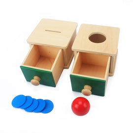 Camandetoy Baby Wooden Coin Box Piggy Bank Learning Educational Preschool Training Todders Montessori Kids Toy
