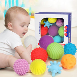 Camandetoy Baby Toys Hand Grasping Ball Soft Ball Textured Multi Ball Set Develop Baby's Tactile Senses Toy for Touch and Massage Soft Ball