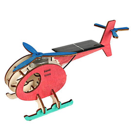 Children's Gift Mini DIY Solar Energy Toy Plane 3D Wooden Puzzle Handmade Assembled Model Building Novelty Toys