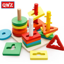 QWZ Wooden Geometric Puzzle Board Kids Educational Jigsaw Stacker Toddler Wooden Toys For Children Gifts Montessori  Kids Toys