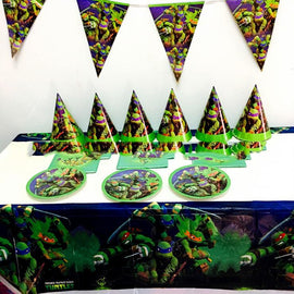 132PCS Happy Birthday Party Total  For 10 kids luxury Set Girls Favors Caps Ninja Turtles Theme Decorate Flags Baby Shower Cups
