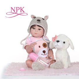 NPK Full Body Silicone Reborn Girl Baby Doll Toys Lifelike Baby Reborn Doll Child Birthday Christmas bebe Gift reborn bonecas