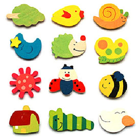 12pcs Cute Fridge Magnet Wooden Kids Toys Cartoon Animals Funny Refrigerator Toy Colourful Fun Wholesale