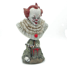 Camandetoy 24CM Stephen King's It Pennywise Joker Bust Resin Statue Office Home Collection Resin Model Decoration
