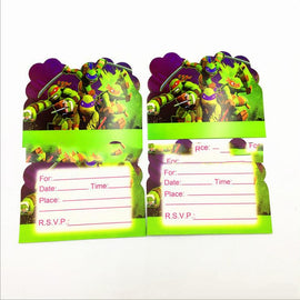 Baby Shower Theme Party Decoration Cartoon Ninja Turtles Invitation Cards Boys Kids Favors Birthday Events Supplies 10pcs/lot