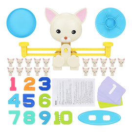 Match Game Board Toys Monkey Cat Match Balancing Scale Number Balance Game Kids Educational Toy to Learn add and subtract