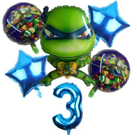 6pcs 3D Teenage Mutant Ninja Turtles Balloons Cartoon 32 Inch Number Balloon Set Globo Brithday Party Decorations Child Toys