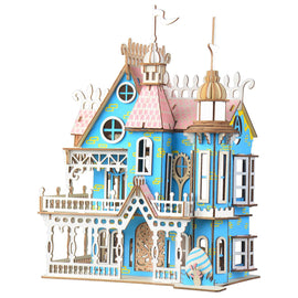Laser Cutting DIY Assembled Building Model Fantasy Villa 3D Wooden Doll House Furniture For Children Girls Birthday Gifts