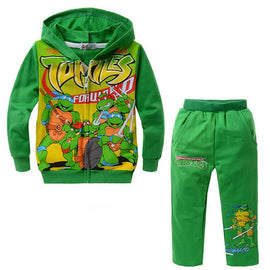 2019 Spring Autumn Ninja Turtle Print Children Sets Boys and Girls Teenage Clothes Cool Boy Hooded Suit Kid Jacket Costume 2T-9T