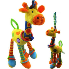 Plush Infant Baby Development Soft Giraffe Animal Handbells Rattles Handle Toys Hot Selling WIth Teether Baby Toy 50% off