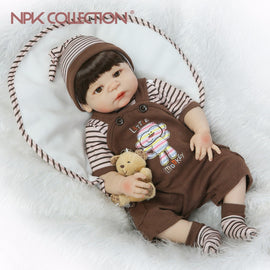 NPKCOLLECTION 57CM Full Body Silicone Vinyl Adorable Lifelike Toddler Baby Bonecas Girl Kid Bebes Reborn Dolls Kid Toys Playmate