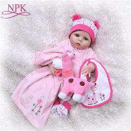 NPK Full Body Silicone Reborn Baby Doll kids Playmate Gift For Girls Baby Girl Alive Soft Toys For Bouquets Doll Bebes Reborn