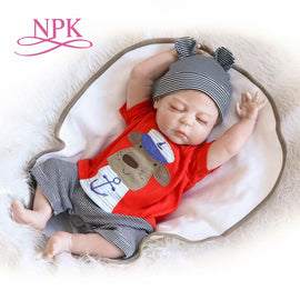 NPK 56CM big size Reborn baby boy bebe doll reborn full silicone body best children sleeping boy gift toys brinquedos bonecas
