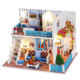 DIY Doll House Small Sea View Wooden Doll Houses Hut Villa Assembly Model Birthday Gift for Helen Coast Miniature Dollhouse