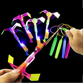 50/100PCS Rocket Flash Arrow Luminous Big Slingshot LED Light  Arrows Flash Helicopter Flying Emitting Children's Toys Gift